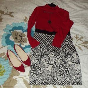 Venus Red/White/Black brocade dress Size M